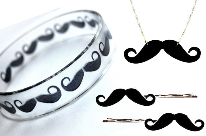 moustache accessories accessoire jewelry lamp scarf ring necklace tableware glass1 Moustache Madness