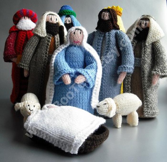 knitted nativity scene Jesus Junk   Die Krippenkunde