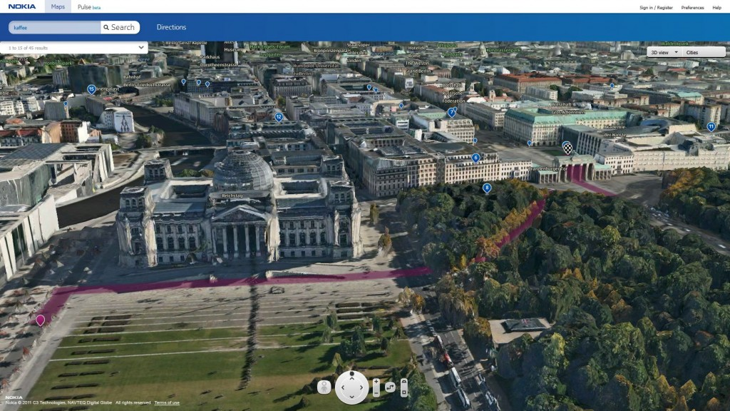 Berlin reichstag route POI 1024x576 The world as you see it   Nokia Maps 3D