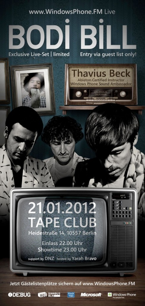 WPfm TapeclubFlyer DINlang front 488x1024 Tape dir einen: Mit dem Windows Phone zu Bodi Bill